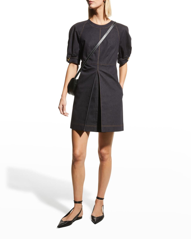 Denim Puff-Sleeve Mini Dress