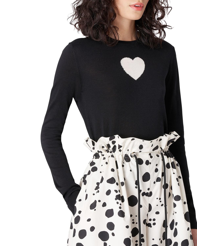 Heart Intarsia Silk-Cashmere Sweater