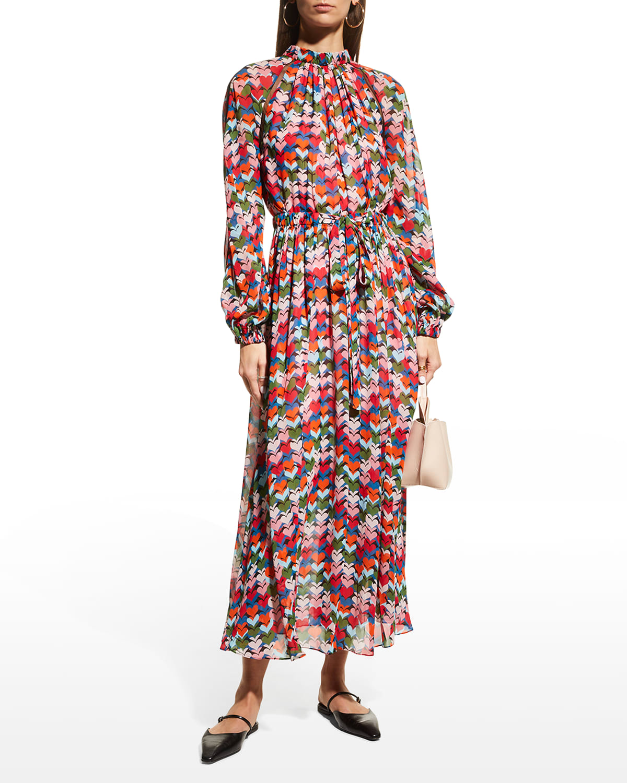 Heart-Print Gathered Midi Dress w/ Mesh Inserts