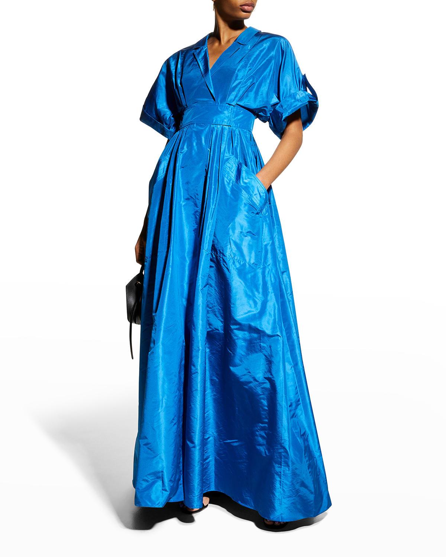 Wide-Sleeve Shirt Ball Gown w/ Pockets