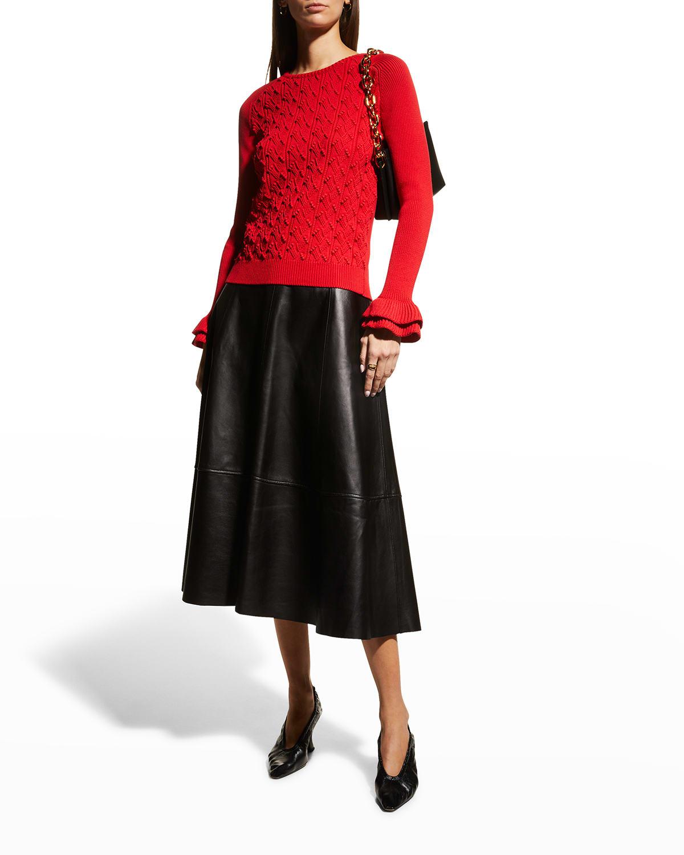 Double-Ruffle Cuff Knit Sweater