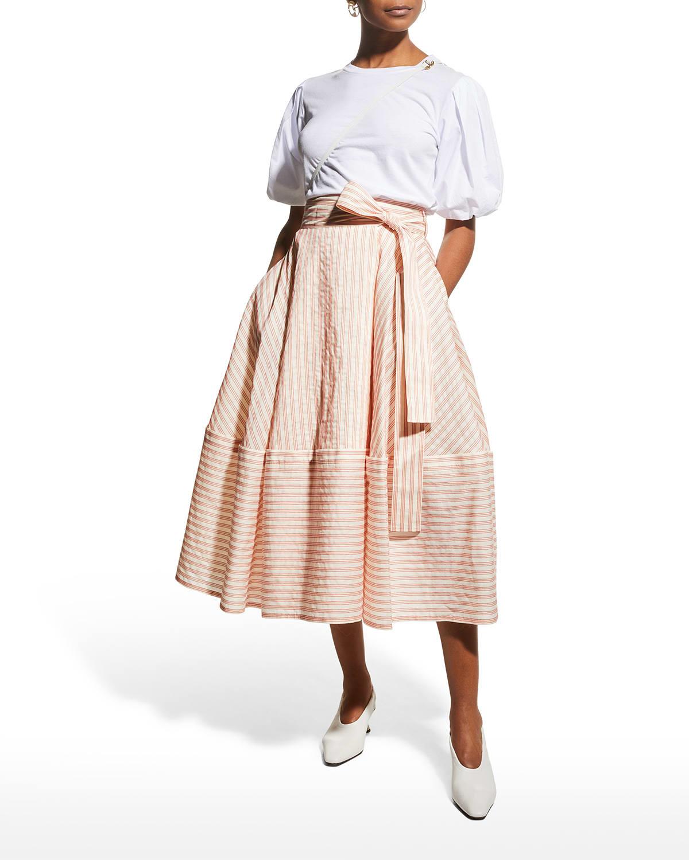 Bellflower Stripe Wrap Midi Skirt
