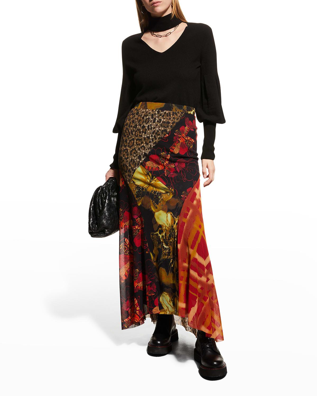 Rosette Silk Satin Blouse
