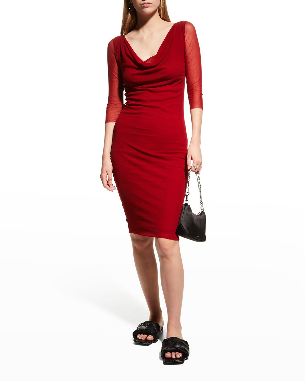 3/4-Sleeve Cowl-Neck Bodycon Dress