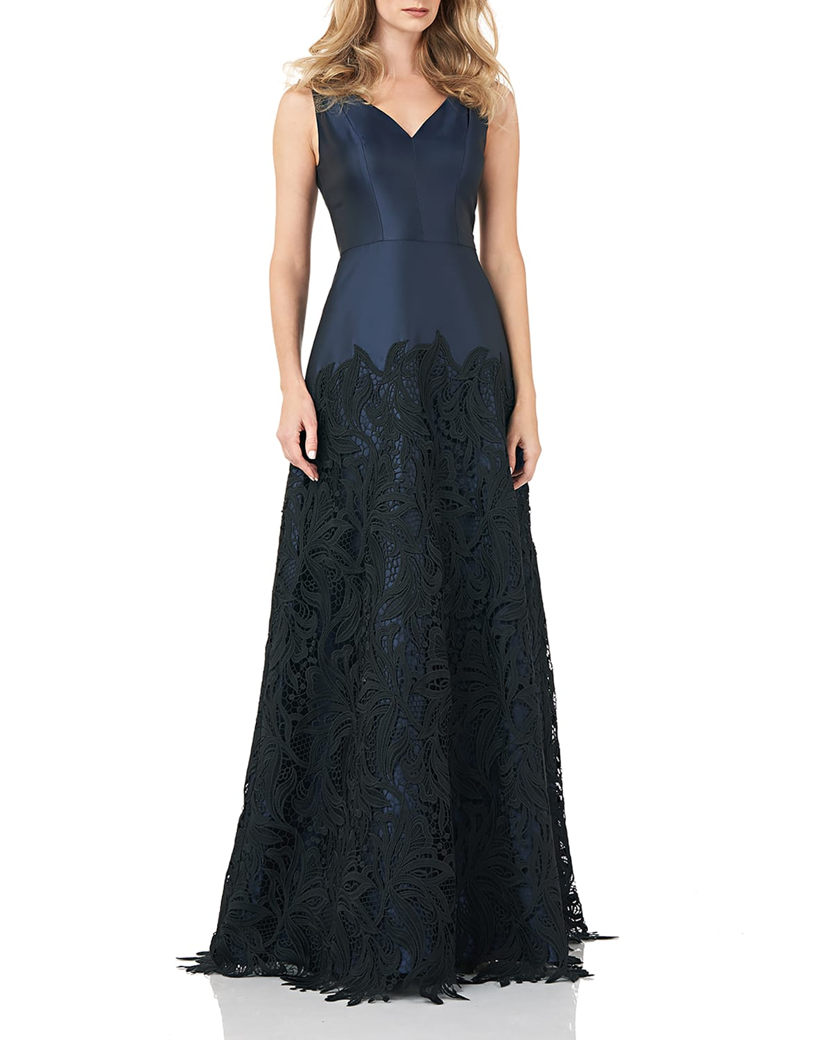 Sleeveless Guipure Lace Mikado Gown