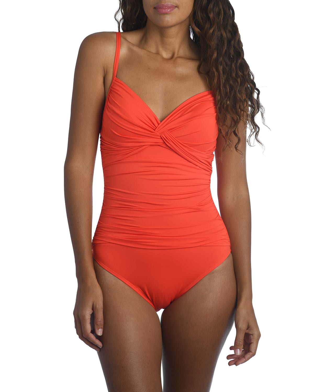 Island Goddess Twist-Front Underwire One-Piece Swimsuit