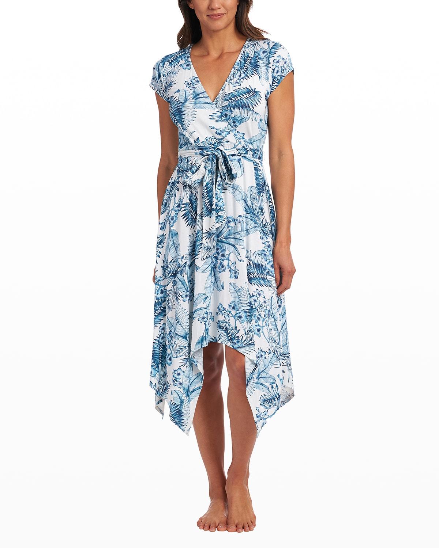 Tranquility Palm Tie-Front Surplice Dress