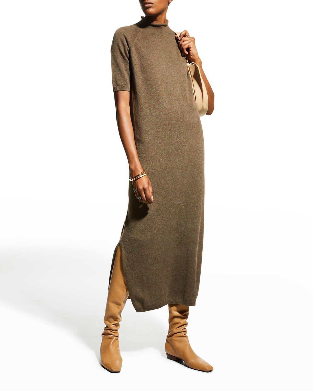 Stand-Collar Raglan-Sleeve Cashmere Dress