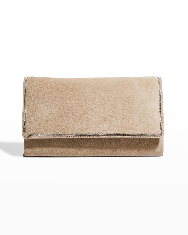 Monili Suede Clutch Crossbody Bag