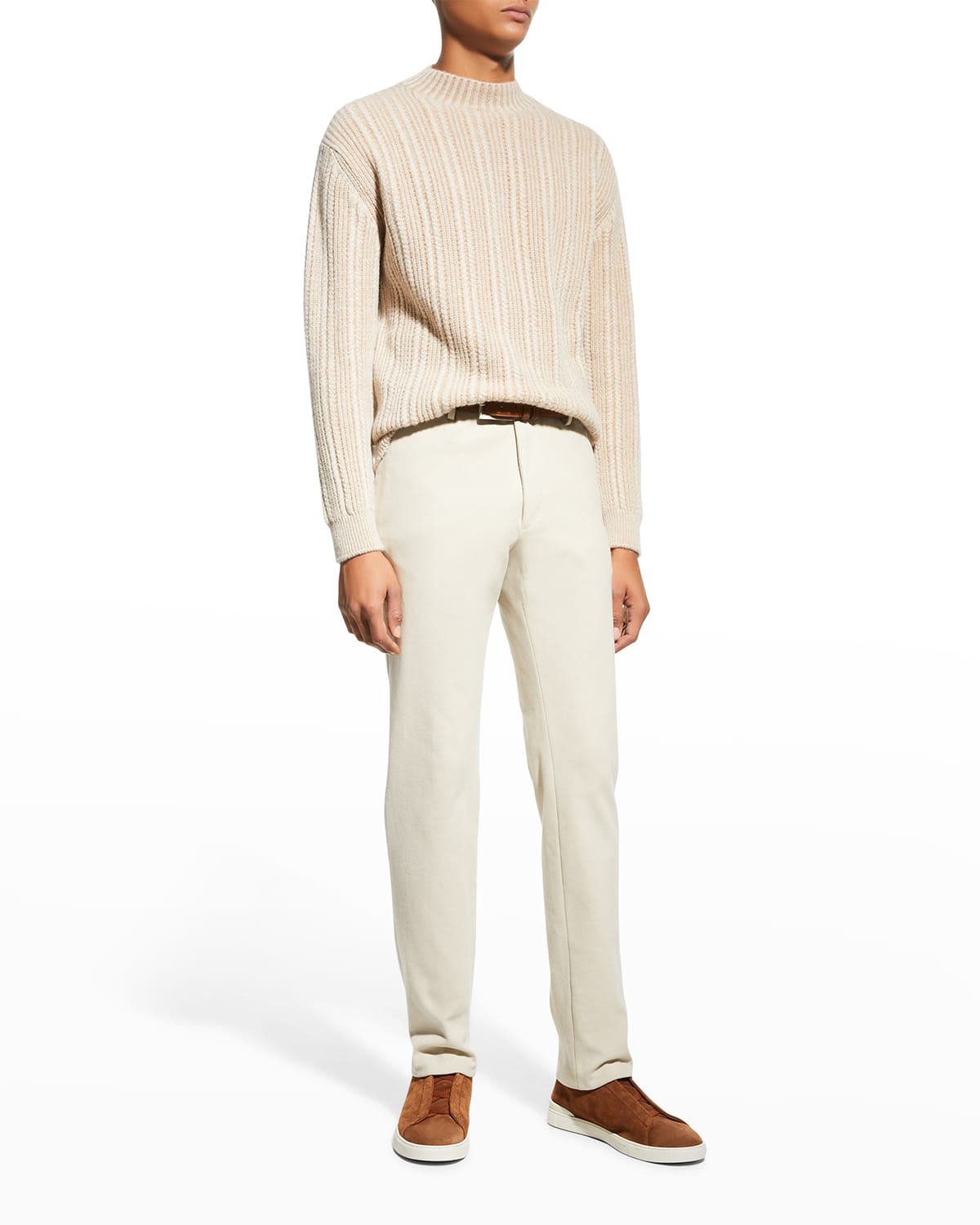 Men's Cashmere-Blend Micro-Cable Sweater