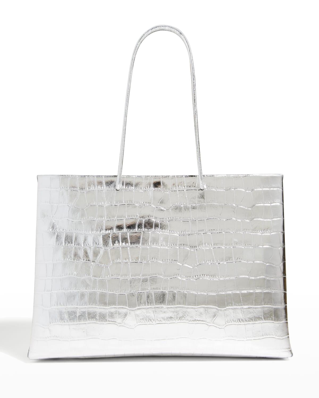 Metallic Moc-Croc East-West Tote Bag
