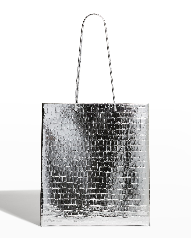 Busted Metallic Moc-Croc Shopper Tote Bag