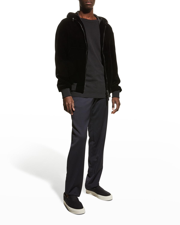 Men's Zip-Up Velvet Sweatshirt