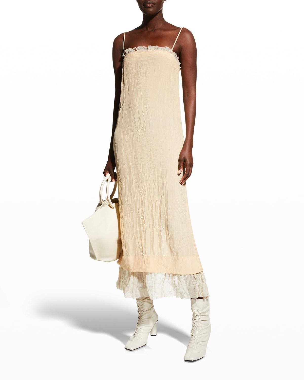 Susanna Ruffle-Trim Midi Slip Dress