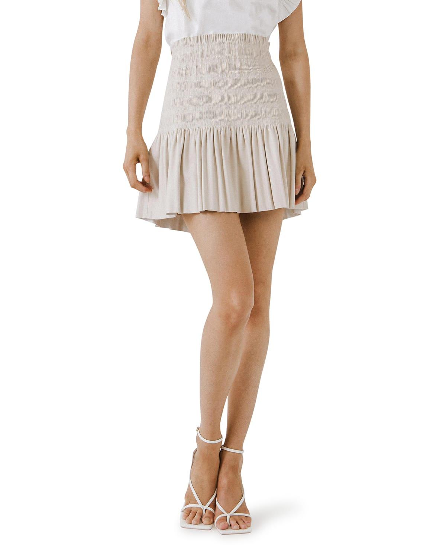 Smocked Pleated Leather Skirt