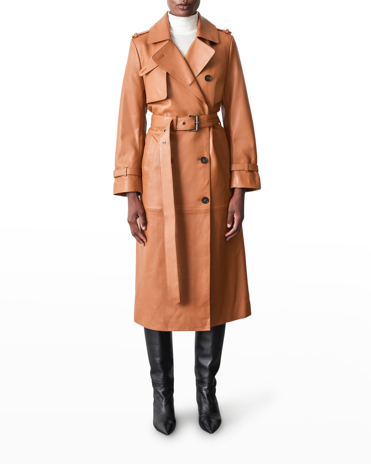 Gael Long Leather Trench Coat With Belt