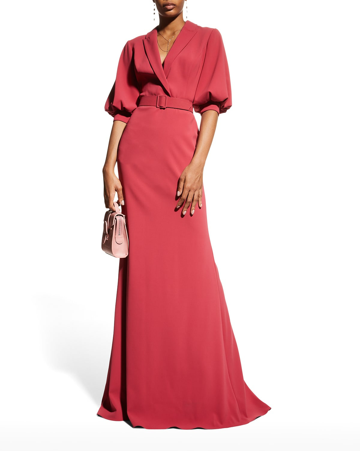 Puffed Elbow-Sleeve Crepe Gown