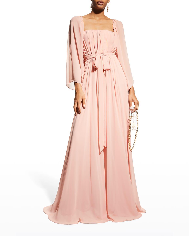 Shirred Caftan Gown w/ Self-Belt