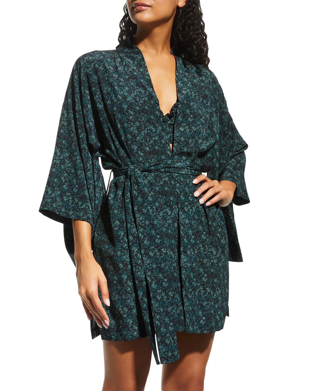 Botanist Printed Silk Midi Kimono