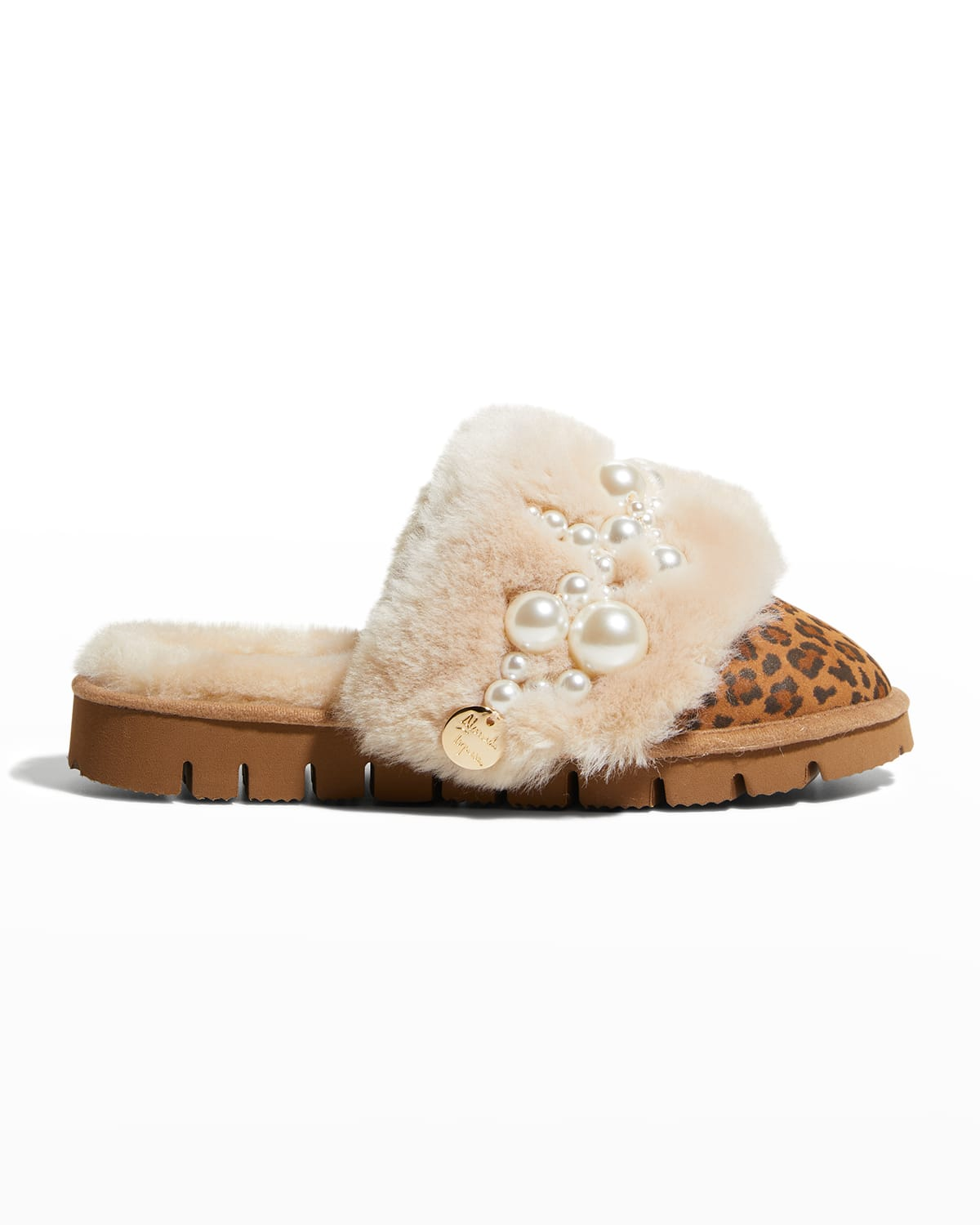 Pinctada Pearly Leopard-Print Mule Slippers