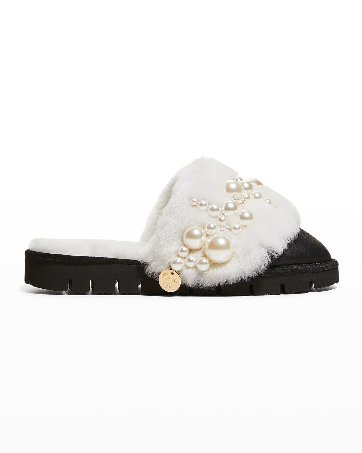 Pinctada Pearly Leather Mule Slippers