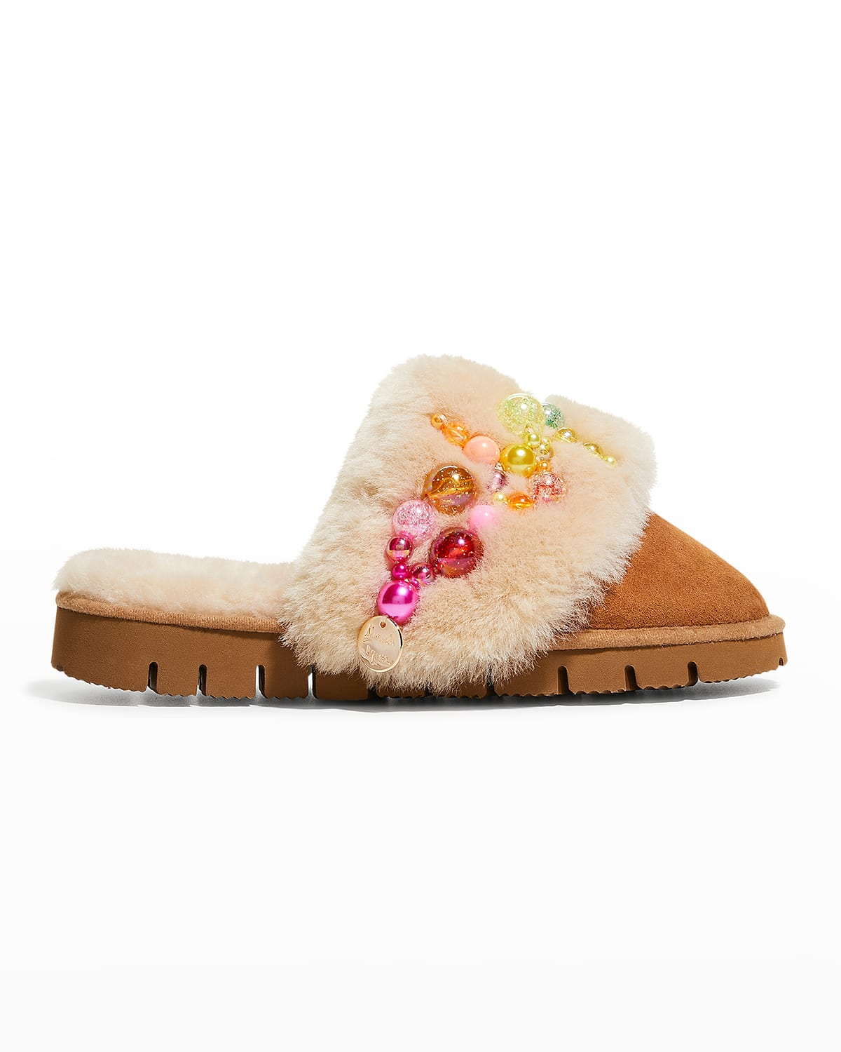 Pinctada Pearly Rainbow Suede Mule Slippers