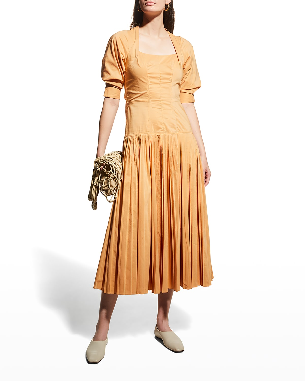 Iva Pleated Poplin Midi Dress