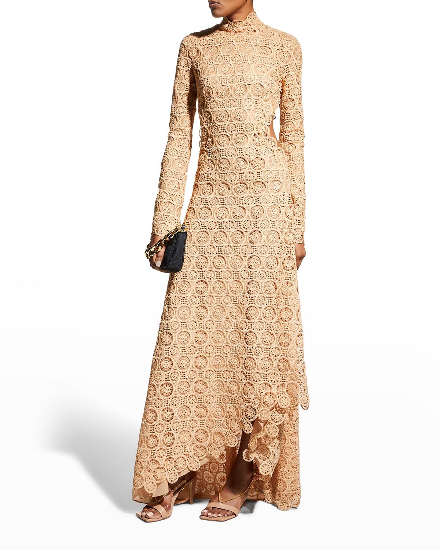 Ilana Mixed Guipure High-Neck Dress