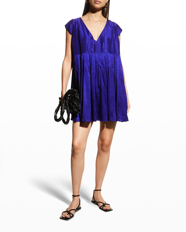Camelia Short Pleated Silk Dress
