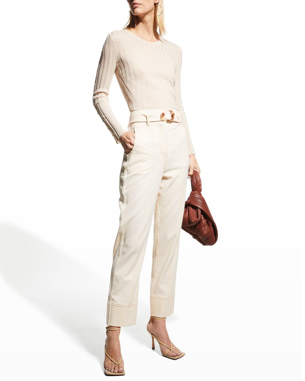 Aria Fine Wool Rib Long-Sleeve Pullover