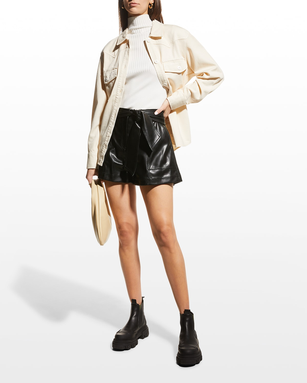 Mari Vegan Leather Tie-Waist Shorts