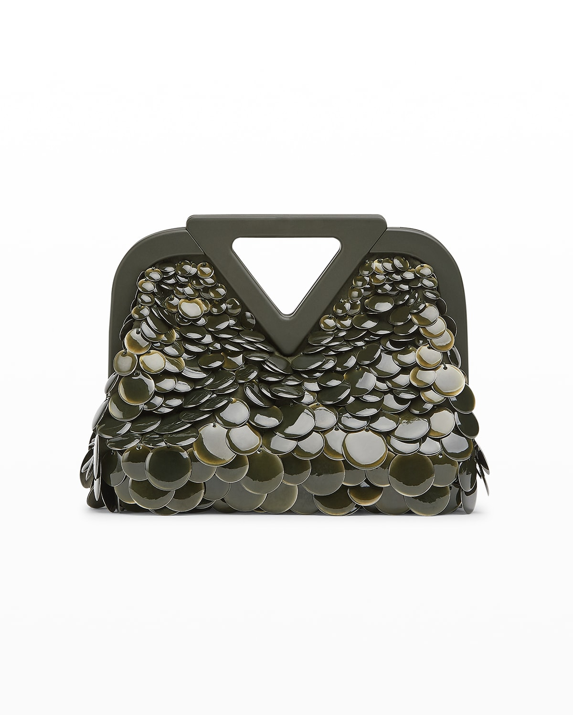 Triangle Metallic Sequin Clutch Bag