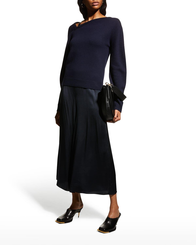 Asymmetric Wool-Cashmere V-Neck Strap Sweater