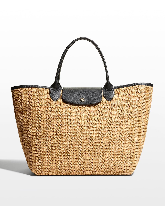 Le Pliage Paille Medium Jute Top Handle Bag