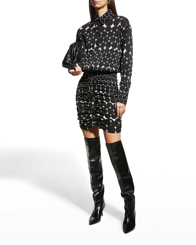 Pontillism Button-Front Dress
