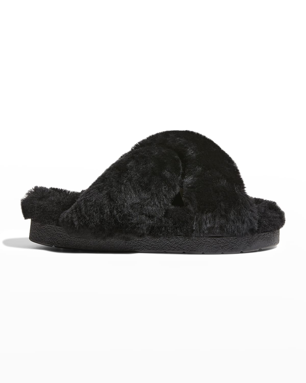 Crisscross Shearling Slide Slipper Sandals