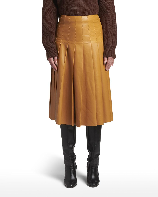 Alabama Pleated Leather Midi Skirt