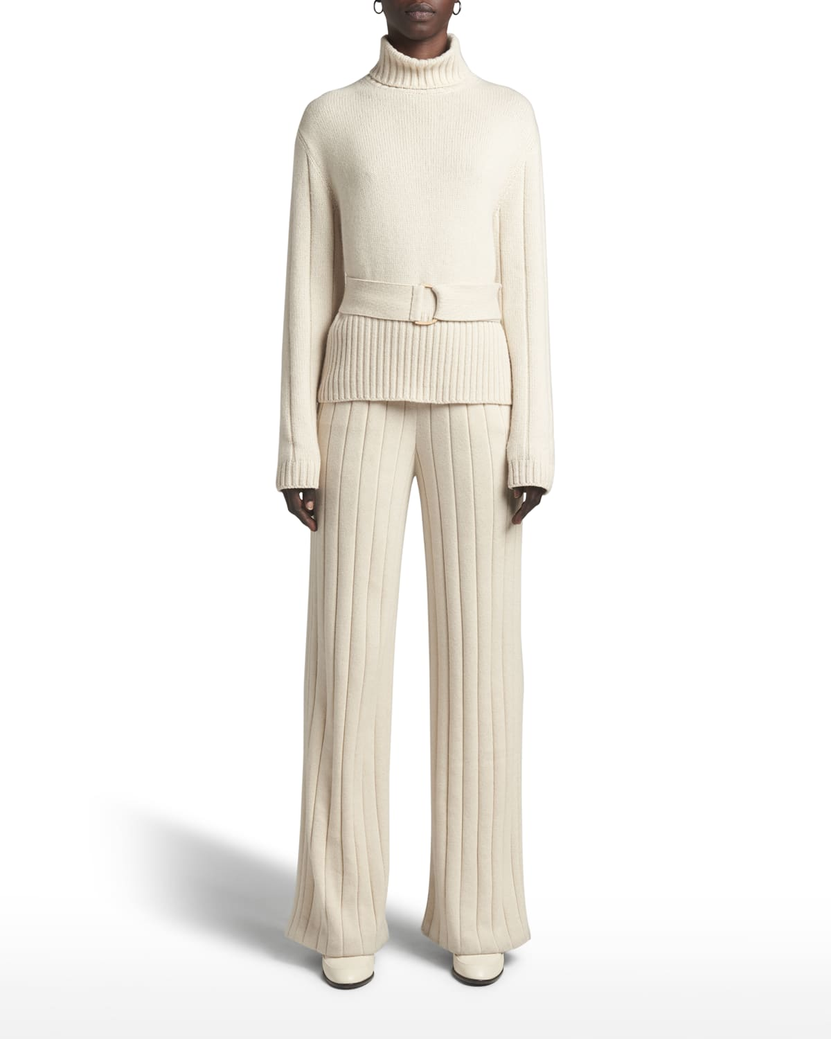 Dolcevita Duca Doastals Belted Wide-Rib Sweater