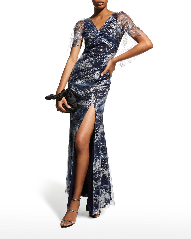 Glitter Tulle Cape-Sleeve Side-Slit Gown