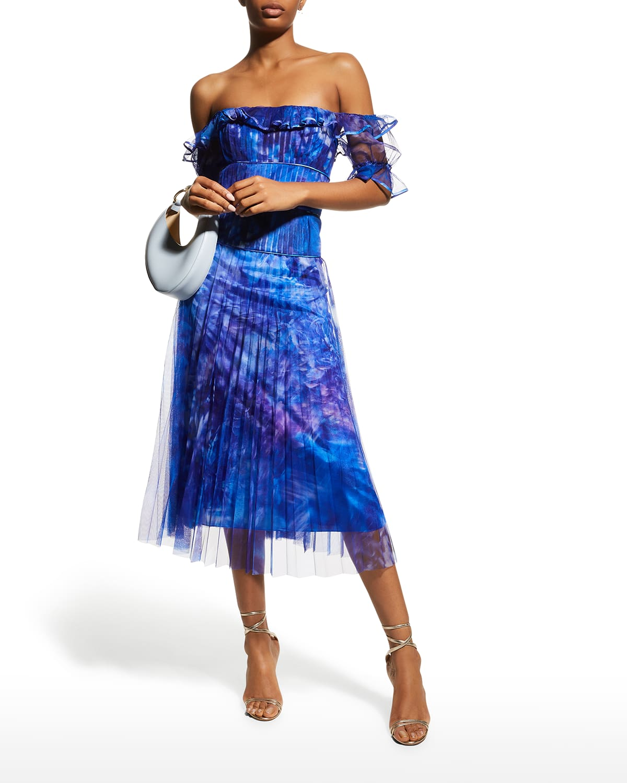 Pleated Off-Shoulder Printed Chiffon Dress