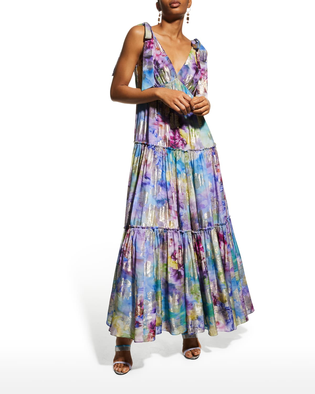 Floral Jacquard Empire-Waist Maxi Dress