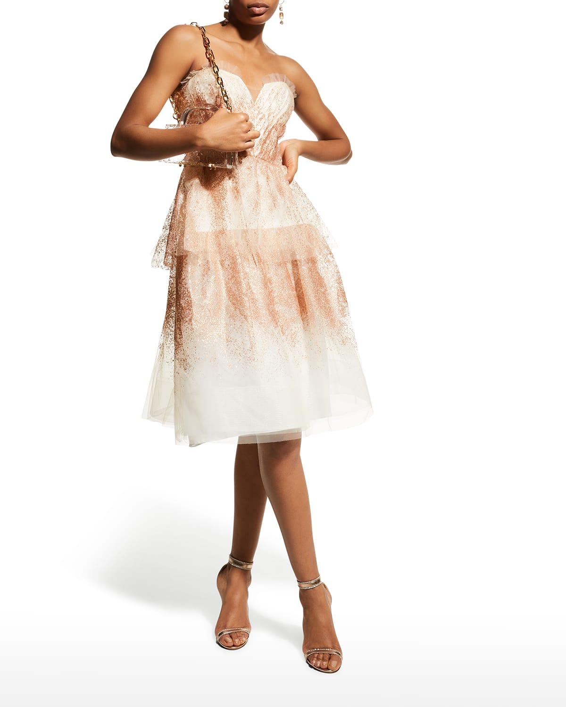 Strapless Glitter Tulle Cocktail Dress