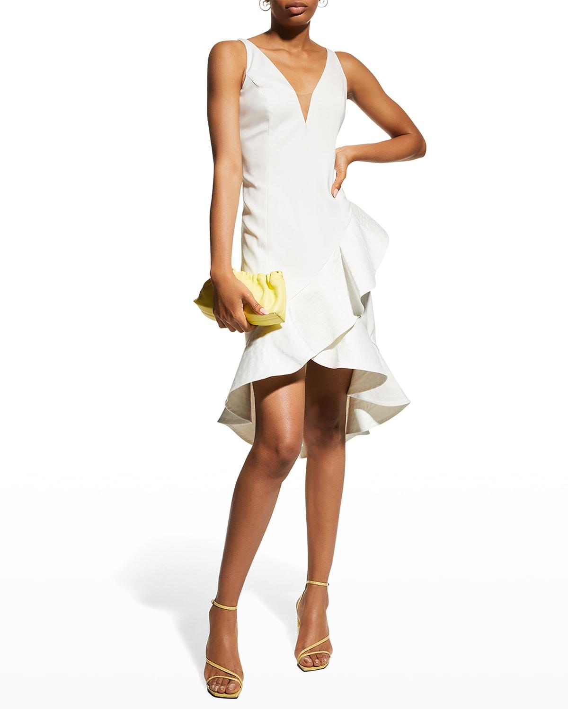Sleeveless Asymmetric Ruffle-Hem Dress