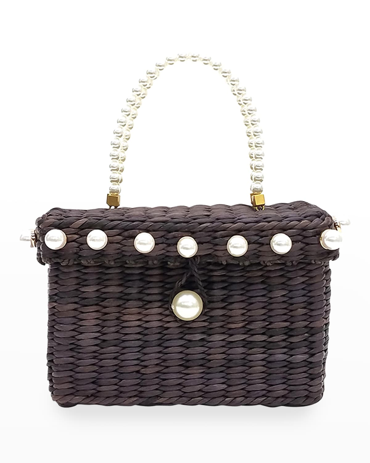 Peggy Pearly Straw Top-Handle Bag