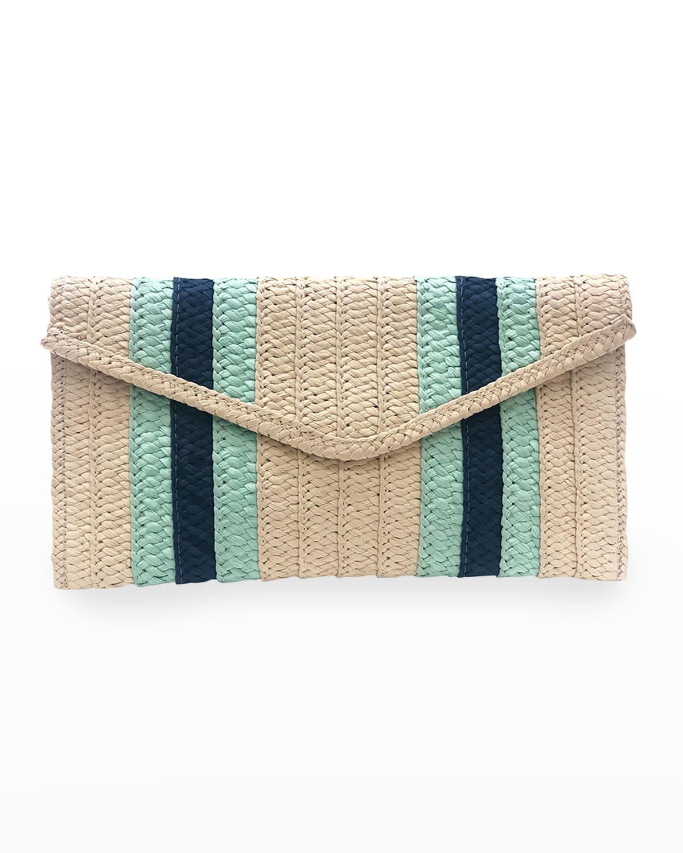 Stripe Straw Envelope Clutch Bag