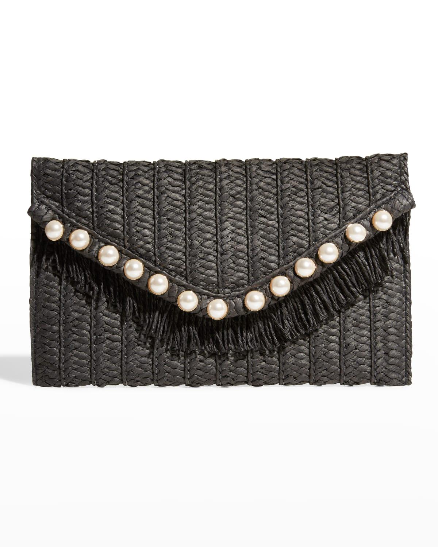 JoJo Straw Pearl-Stud Fringe Clutch Bag