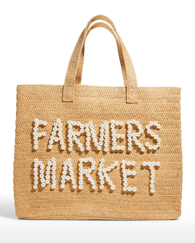Farmers Market Straw Tote Bag