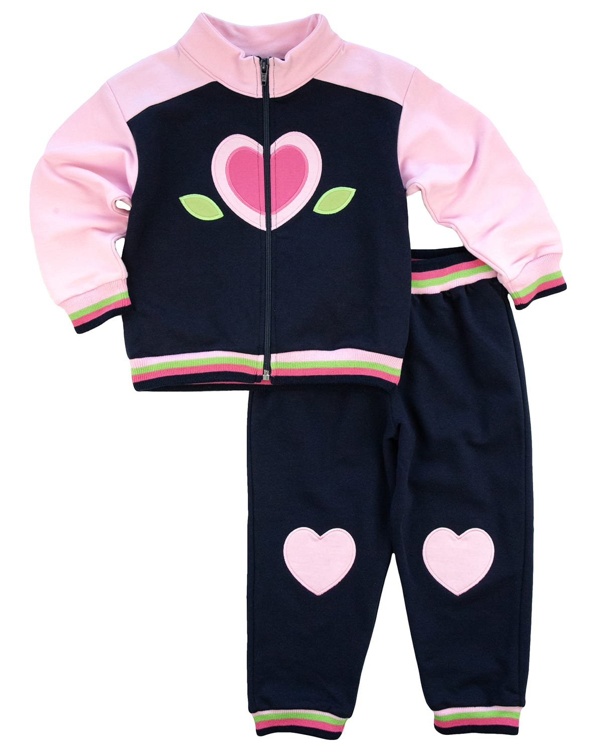 Girl's Heart French Terry Jacket w/ Jogger Pants