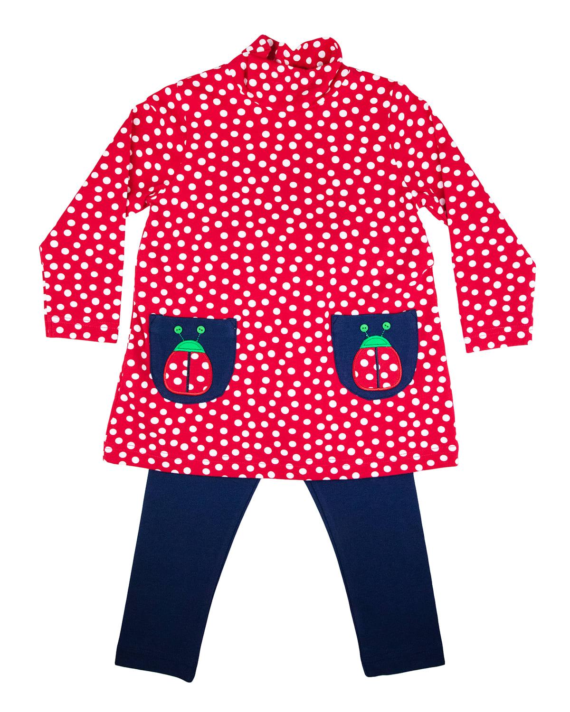 Girl's Polka-Dot Lady Bug Dress w/ Leggings