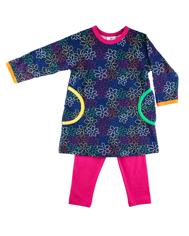 Girl's Scribble Floral-Print Dress w/ Leggings
